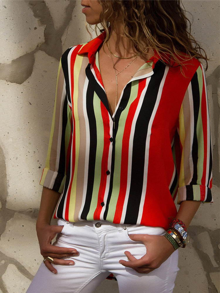Multicolor Striped Printed Long Sleeve Blouse