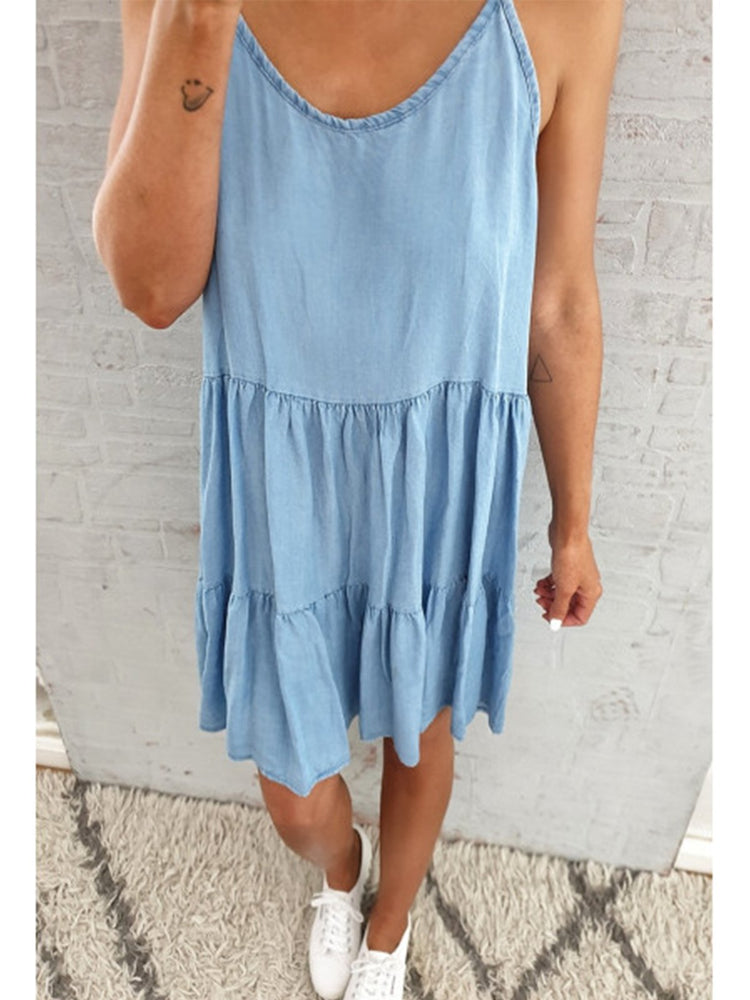 Casual Ruffled Sleeveless Solid Dresses