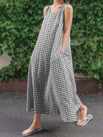 Casual Square Neck Cocoon Plaid Dress