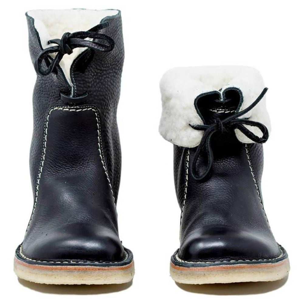 Women's Vintage Artificial Round Toe PU Leather Low Heel Boots