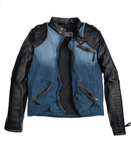 Laden Sie das Bild in den Galerie-Viewer, Herren Outdoorjacke - BIKER Denim Midblue