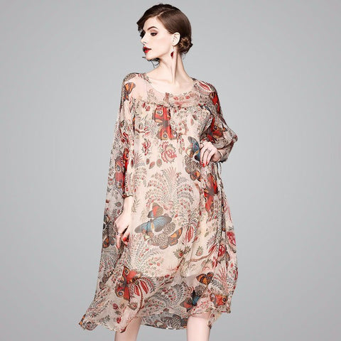 beige floral lace silk dress 2019 spring summer women long casual sexy  bohemian beach dresses plus 791afe22f4d6