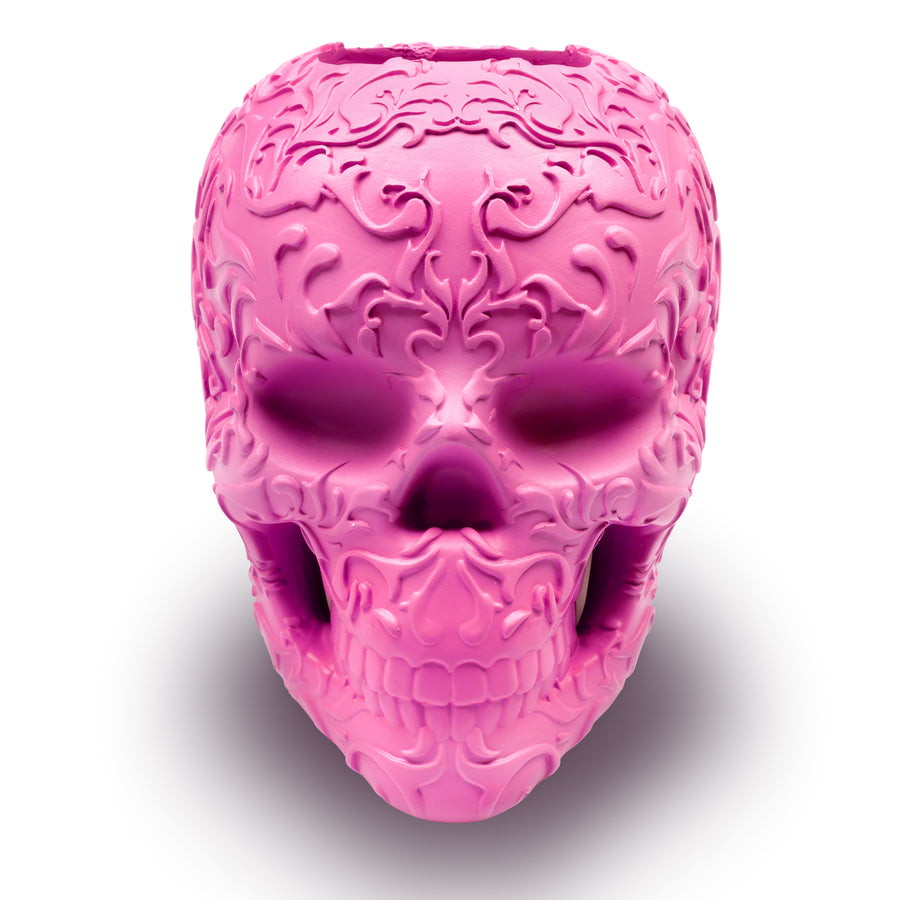 Skull makeup brush holder - Pink