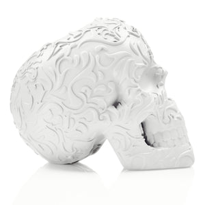 Skull makeup brush holder - White