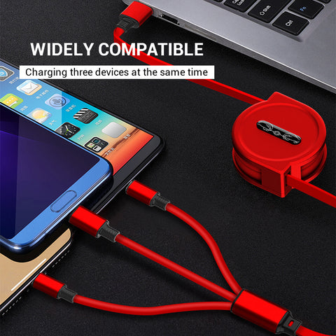 3 In 1 USB Charge Cable - 120cm Extendable