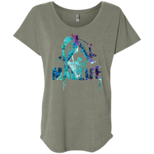 Load image into Gallery viewer, Ladies' Turquoise/Purple MadLife Logo Dolman Sleeve T-Shirt