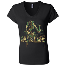 Load image into Gallery viewer, Ladies' Green Camo MadLife Logo V-Neck T-Shirt