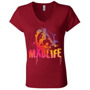 Ladies' Sunset MadLife Logo V-Neck T-Shirt