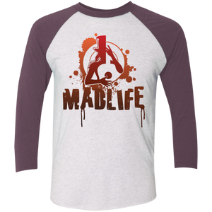 Unisex Red MadLife Logo 3/4 Sleeve Baseball T-Shirt