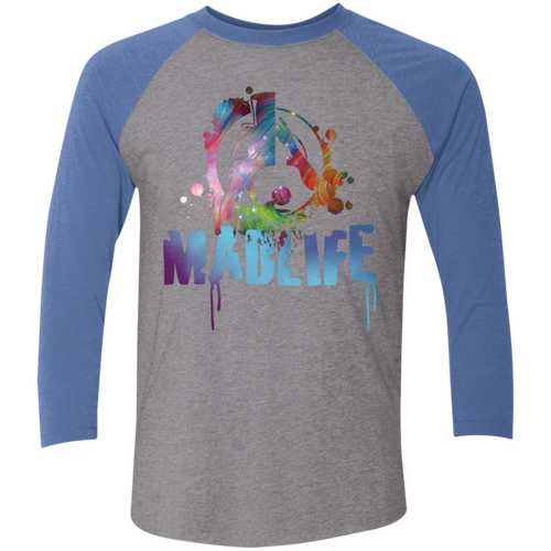 Unisex Multi-Color MadLife Logo 3/4 Sleeve Baseball Raglan T-Shirt