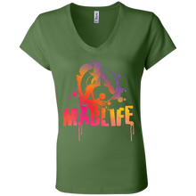 Load image into Gallery viewer, Ladies' Sunset MadLife Logo V-Neck T-Shirt