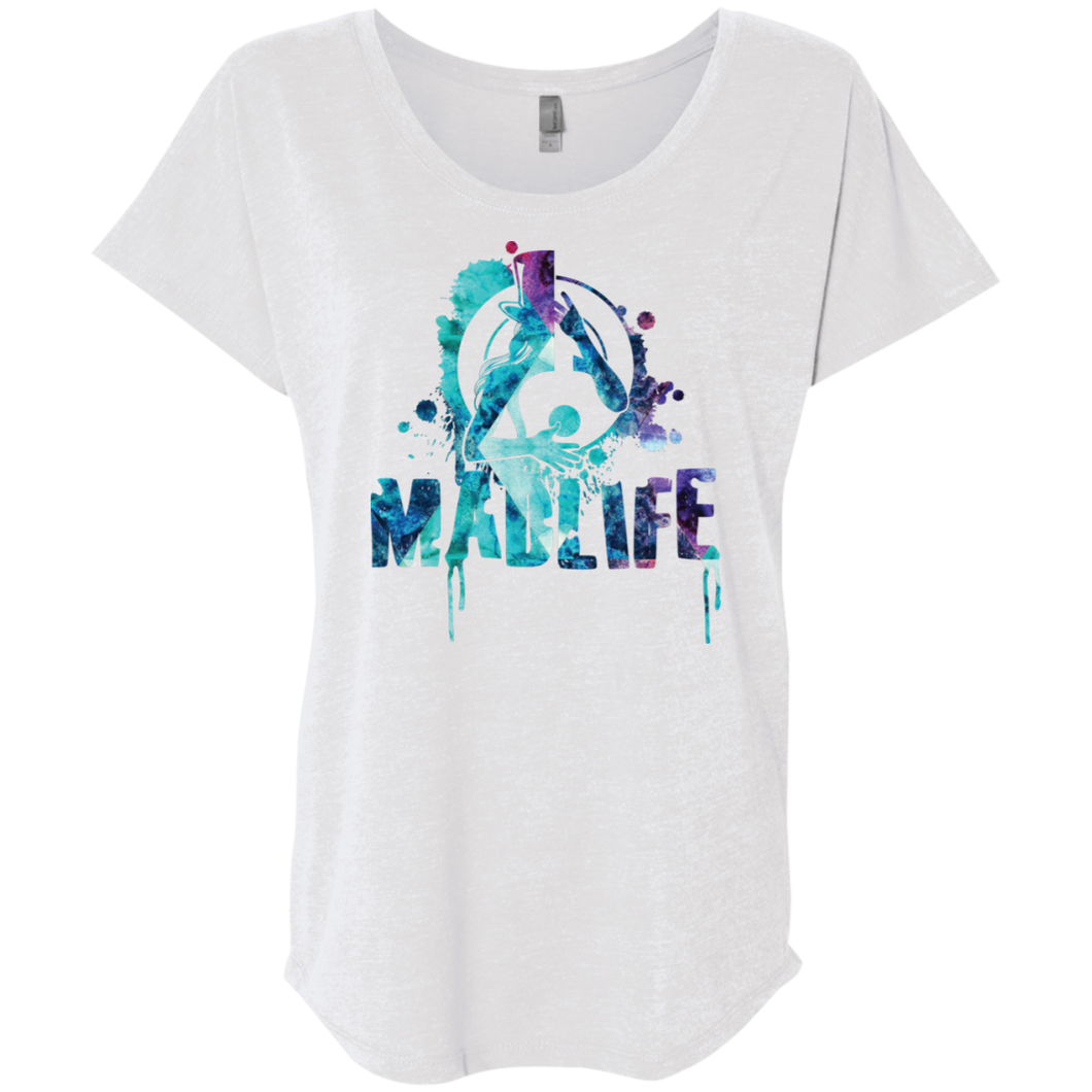 Ladies' Turquoise/Purple MadLife Logo Dolman Sleeve T-Shirt