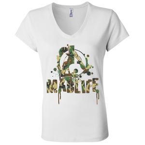 Ladies' Green Camo MadLife Logo V-Neck T-Shirt