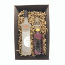 Load image into Gallery viewer, Contents of gift box with 70cl bottle of Ogilvy vodka, 50cl bottle of Ogilvy Creme de Cassis and branded Ogilvy nosing glass