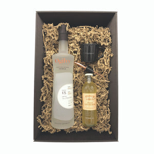 Gift box contents with 70cl bottle of Ogilvy vodka, 200ml bottle of ginger beer, small black enamel mug and copper pourer