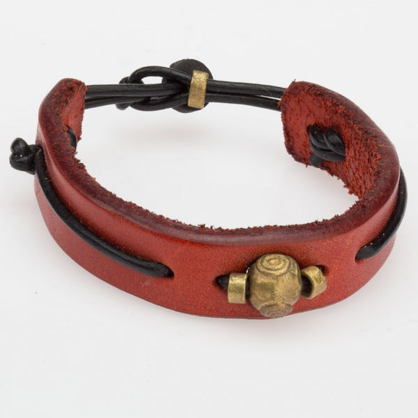 Leather Bracelet with Brass Accent