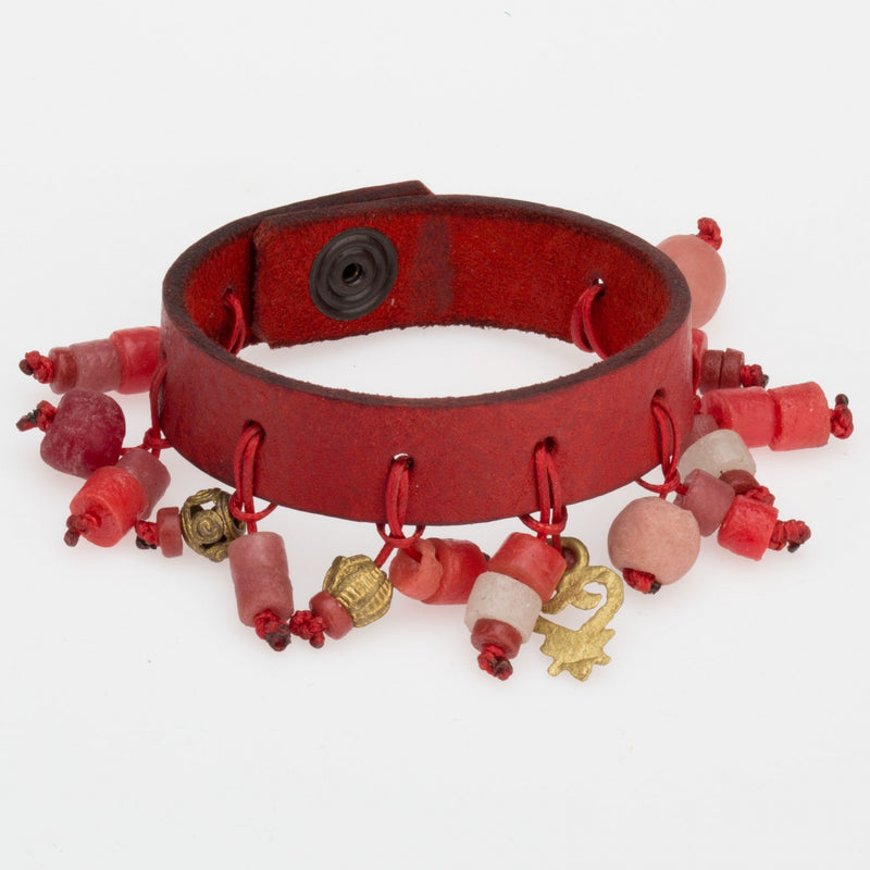 Leather Bracelet with Beaded Tassels