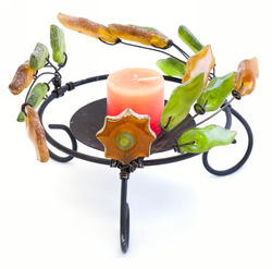 Candle holder - Green & Amber