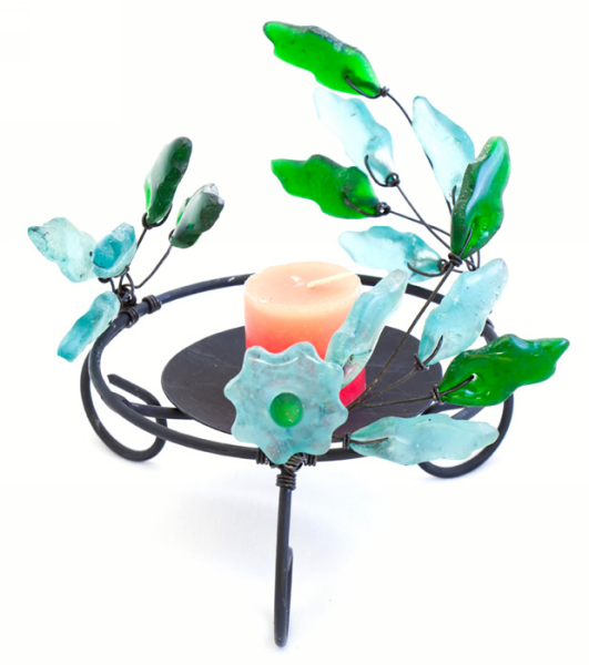 Candle holder - Green & Teal