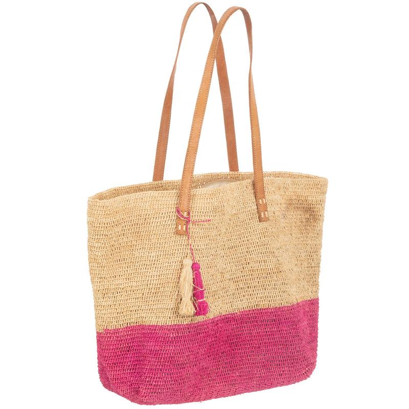 Raffia Tote Bag with Leather Handle
