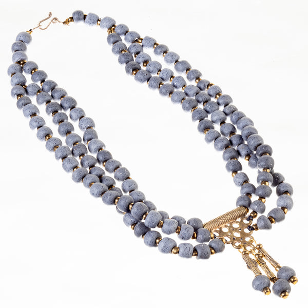 Berry Bead Necklace - Grey Brunia