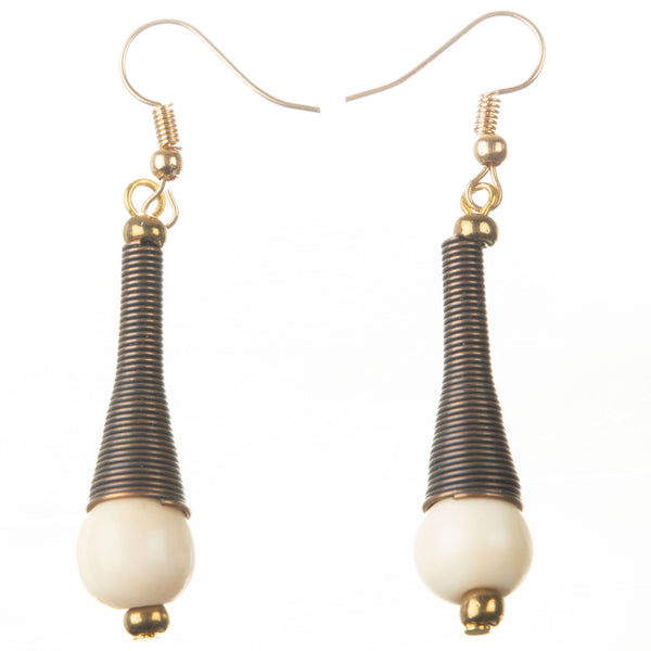 Bronze +Bead Cone Earrings