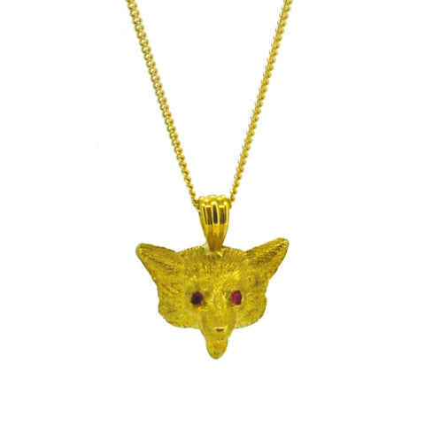 Fox Head Pendant Necklace