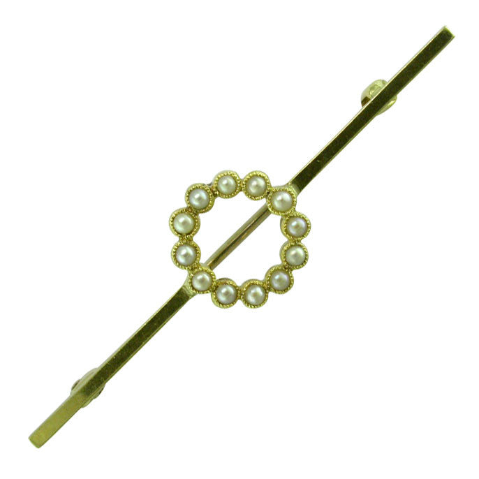 Yellow Gold Pearl Stock Pin