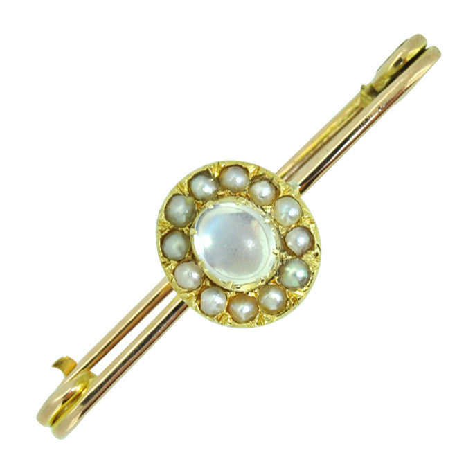 Moonstone & Pearl Stock Pin