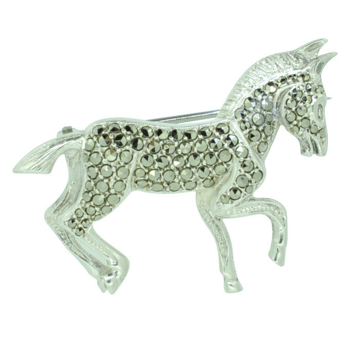 Marcasite Donkey Brooch