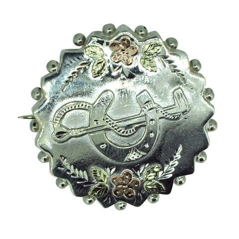 Silver Horse Shoe & Whip Brooch