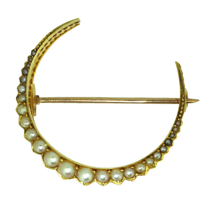 15ct Pearl Crescent Brooch