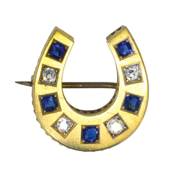 Victorian Sapphire and Diamond Horse Shoe Brooch