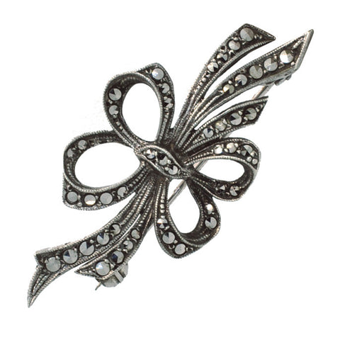 Marcasite Bow Silver Stock Pin