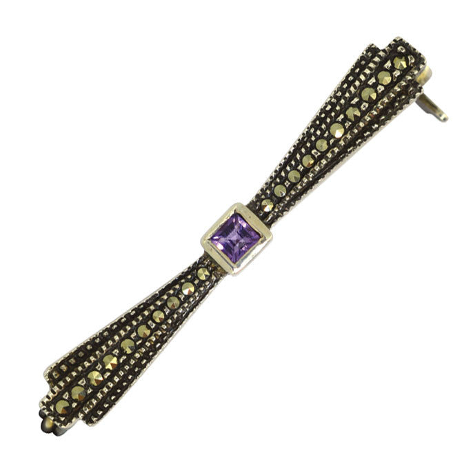 Silver Marcasite & Amethyst Stock Pin