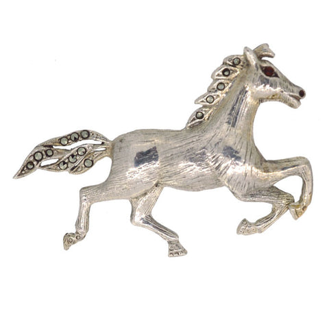 Silver Marcasite Horse Brooch