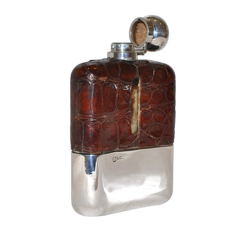 Silver, Glass & Leather Hip Flask