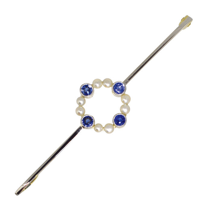 pearl and sapphire stock pin