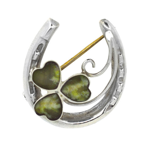 Silver Horse Shoe Brooch with Agate Clover