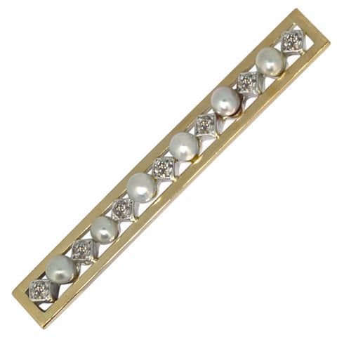 Pearl & Diamond Stock Pin