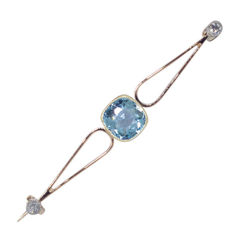 Aquamarine & Diamond Stock Pin