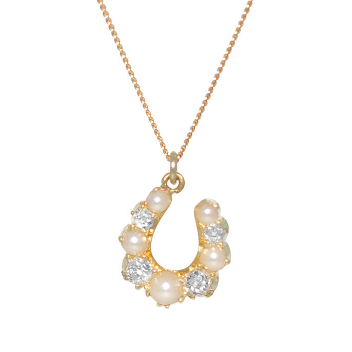 Pearl & Diamond Horse Shoe Necklace