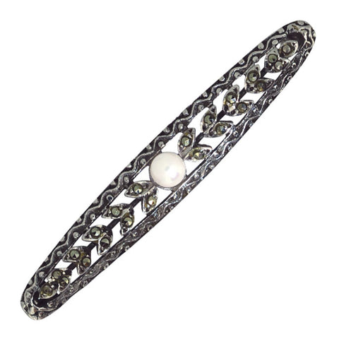 Marcasite & Pearl Stock Pin