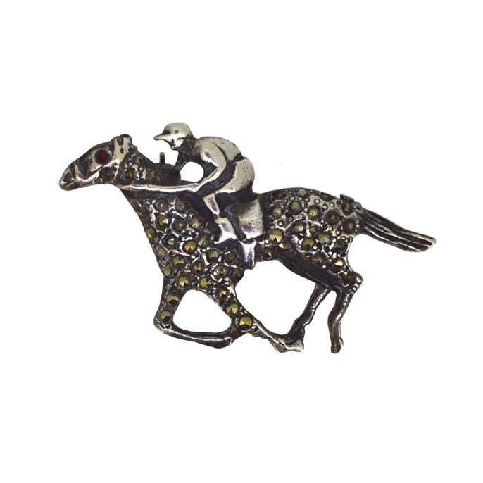 Marcasite Race Horse Brooch