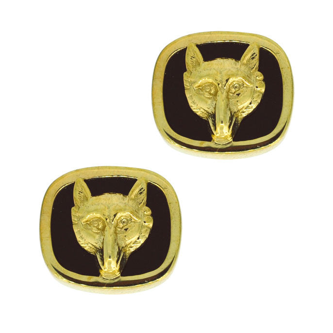 Onyx Fox Head Cuff Links