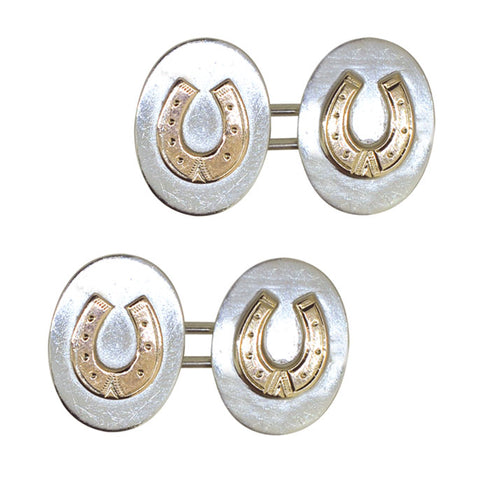 Silver Horse Shoe Cuff Links