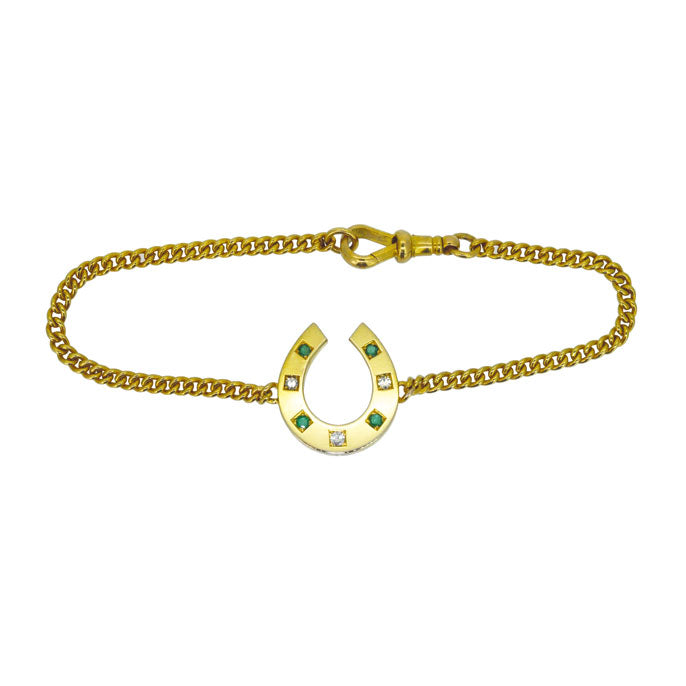Emerald & Diamond Horse Shoe Bracelet
