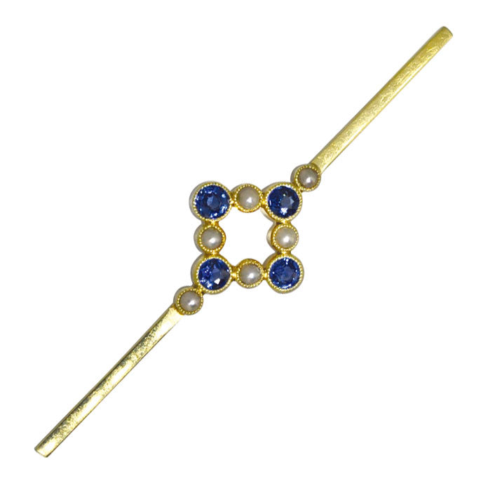 sapphire and pearl stock pin
