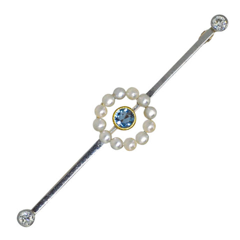Aquamarine, Pearl & Diamond Stock Pin