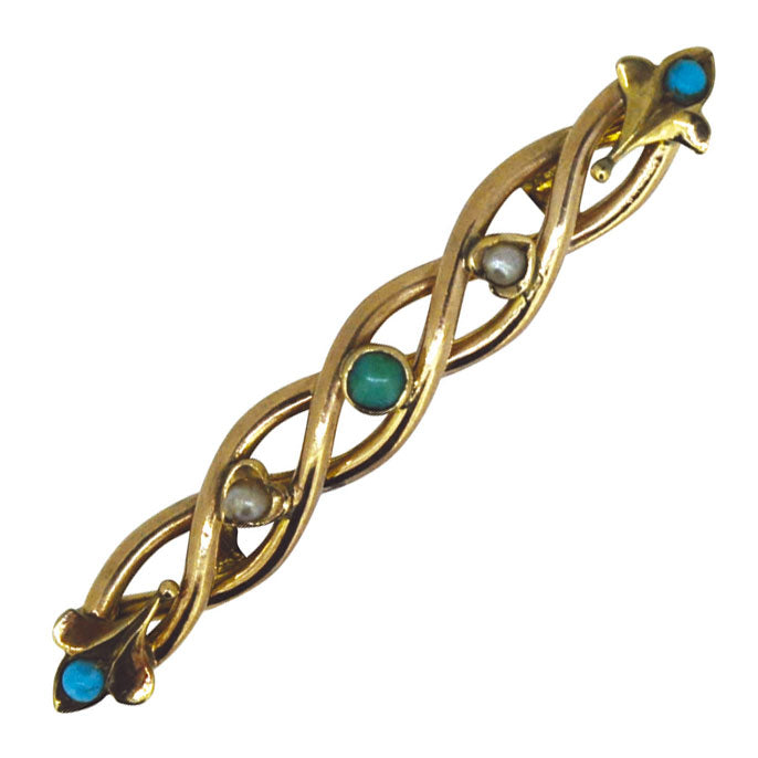 Turquoise & Pearl Stock Pin